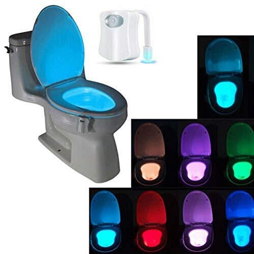Bunte Bewegungs-Sensor-WC-Nachtlicht Toilettenlicht Start WC Badezimmer Toilettenbeleuchtung Menschlicher Körper Auto-Bewegung aktivierte Sensor Sitz Licht Nachttischlampe 8-Farben-Änderungen