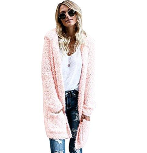 NiSeng Damen Long Cardigan Kapuze Casual Langarm Strickjacke mit Taschen Strick Cardigan Top Rosa XL