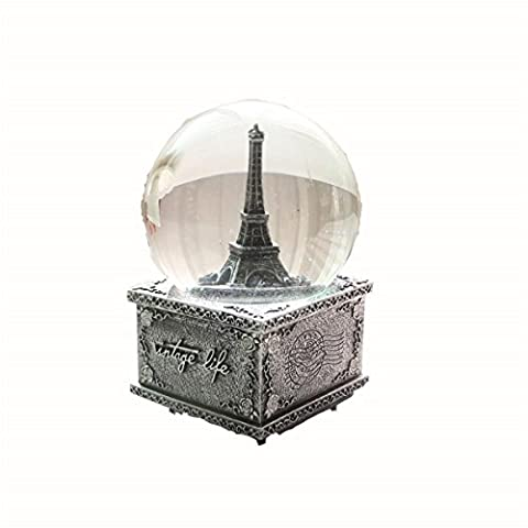 Retro Wind Turm Musik-Box Kristallkugel Harz Dekoration Handwerk Glas Souvenirs , 100# vintage tin crystal ball