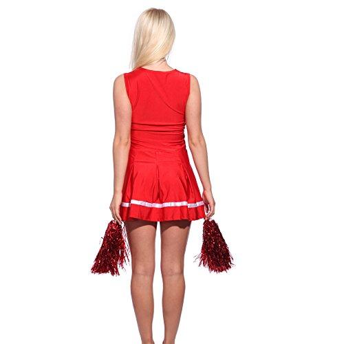 loveorama.de Cheerleader Kostuem Uniform Cheerleading Cheer Leader mit Pompon Minirock GOGO Damen Maedchen Karneval Fasching