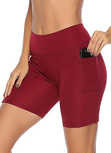 INSTINNCT Damen Sport Kurze Hose mit Taschen Trainingshose Sporthose Jogginghose Fitness Shorts Schwarz M