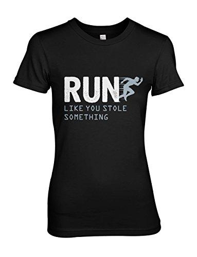 Run Like You Stole Something Komisch Running Jogging Motivation Damen T-Shirt Schwarz