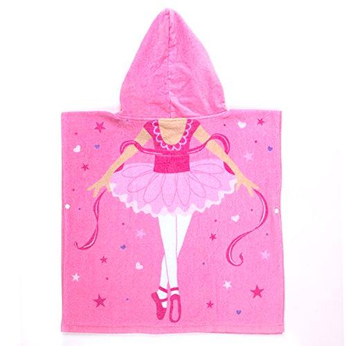 (Florica Kinder Baumwolle Poncho Kapuzen Badetuch Bademantel Schwimmen Strand Tuch Weich Trocknend Cartoon für Mädchen Jungen (Ballett Mädchen, 140cm x 60cm))