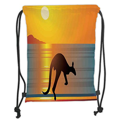 Drawstring Sack Backpacks Bags,Tropical Animals,Objects with Clouds Sun and Umbrella Orchid Hot Relax Exotic Beach Illustration,Multi Soft Satin,5 Liter Capacity,Adjustable String Closu