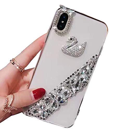 Strass Diamant Hülle für Apple iPhone 7 Plus 8 Plus Bling Bling Glitzer Pailletten Glänzende Luxus Durchsichtig Transparent hartplastik Silikonhülle mit Weich Bumper für Mädchen Damen (Hülle 4 Strass Iphone Bling)
