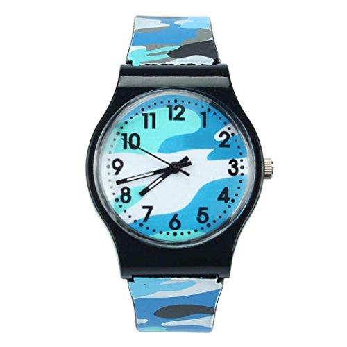 Uhren DELLIN Camouflage Kinder Uhr Quarz Armbanduhr für Mädchen Boy (Blau)