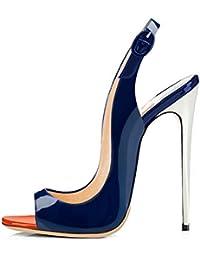 df41743ab1c13e Onlymaker Damen Sandalen High Heels Slingback Stiletto Peep Toe Pumps  Glitzer Party