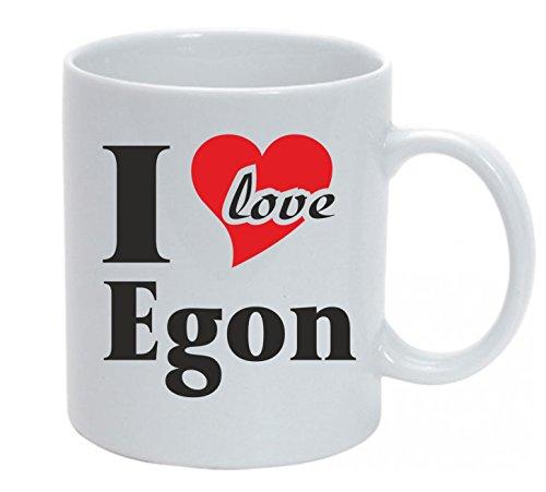 Tasse bedruckt mit I Love Egon Kaffeetasse mit Wunschtext oder Name