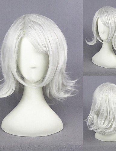 Perruque & xzl Perruques Fashionà court d'argent blanc bouclés goule-Juzo Suzuya / rei manga synthétique perruque cosplay