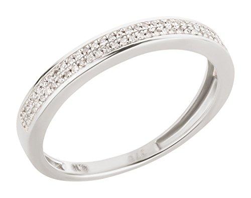Ardeo Aurum Damenring aus 375 Gold Weißgold mit 0,1 ct Diamant Brillant Memory-Ring Eternity Verlobungsring