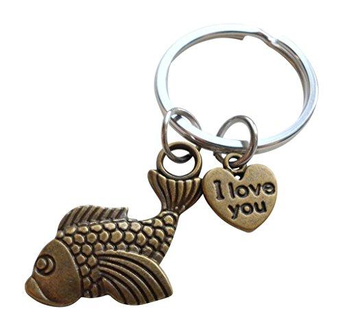 selanhänger, Fisch Anhängsel mit I Love You Ich liebe dich Herz Anhängsel - You're A Great Catch Sie sind ein großer Fang; Paare Schlüsselanhänger ()
