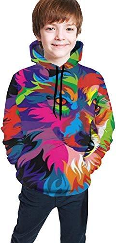 NGZXPMYY Buntes psychedelisches Wolf-mit Kapuze Sweatshirt für Jungen-Mädchen-Teenager Junior, athletische zufällige Sportkleidung