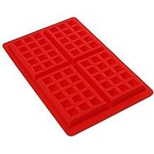 4-cavity DIY Mini gofres para tarta Chocolate sartén de silicona bandeja molde para hornear molde herramienta rojo