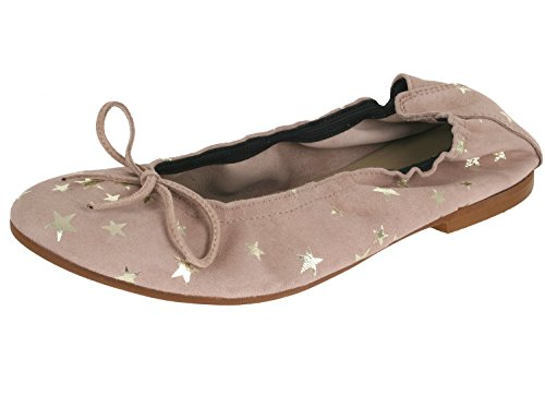 clic! CL- 7290 DE Mädchen Damen Ballerinas mit Schleife Beige-Sterne (Estela Taupe)