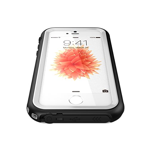iPhone SE 5S 5 Wasserdichtes Hülle Case, iThrough® iPhone SE Magnetischen Wasserdichte Hülle,Staubdicht,Stoßfest,Schneefest, IP68 Zertifiziert mit Touch-ID, Schwerlaste und Tragbare Handyhülle für iPh Weiß