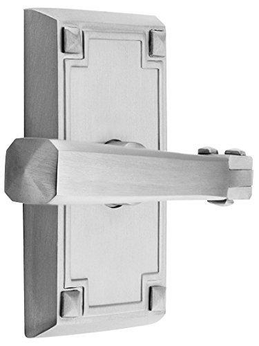 Craftsman Style Lever Door Set With Rectangular Rosettes Right Hand Privacy In Satin Nickel. Door Hardware. by Emtek -