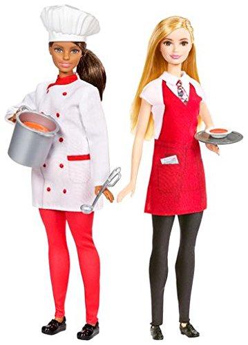 Barbie Mattel FCP66 - Karriere-Puppen: Köchin und Kellnerin, 2er Set (2012 Schürze)