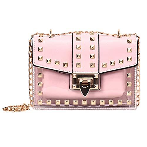 Mitlfuny handbemalte Ledertasche, Schultertasche, Geschenk, Handgefertigte Tasche,Damenmode Niet Diagonale Paket transparente Umhängetasche Kette Tasche (Weiße Gucci-tasche)