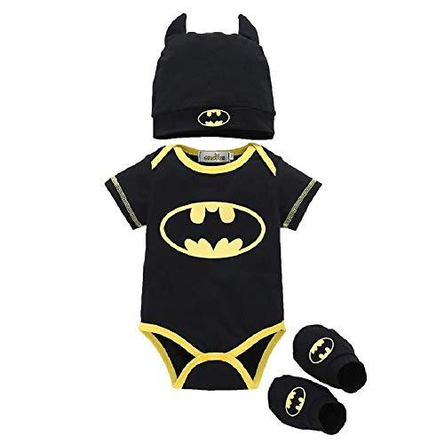 Baby Strampler, Baby Batman Kleidung Superman Strampler Set mit Socken und Mütze
