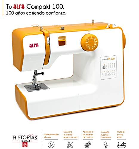 Alfa Compact100 Compakt 100-Maquina de Coser compacta, Blanco, 25 x 15 x 32 cm