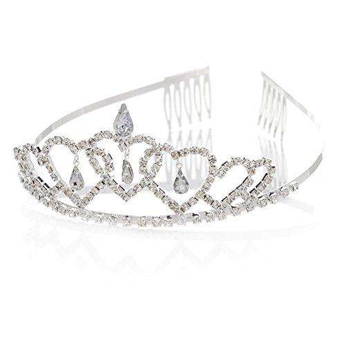 SWEETV Niños Adulto Princesa Rhinestone Compromiso Aniversario Boda Tiara Diadema Corona Peine