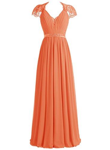 Bbonlinedress Robe de cérémonie et de soirée A-line plissée dentelle col V longueur ras du sol en mousseline Orange