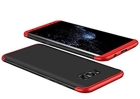 Samsung Galaxy S8/S8 Plus Coque Pacyer® Protection Souple PC 3 en 1 Full Cover 360 Housse Integrale Bumper Etui Case Accessoires Ultra Fin Et Discret Pour Samsung Galaxy S8/S8+ (S8, Noir+Rouge)