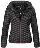 Navahoo Designer Damen Jacke Steppjacke Übergangsjacke gesteppt Kapuze B654 [B654-Par-Schwarz-Gr.XS]