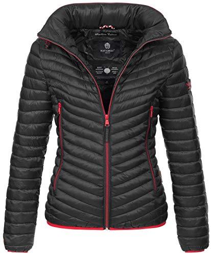 Navahoo Designer Damen Jacke Steppjacke Übergangsjacke gesteppt Kapuze B654 [B654-Par-Schwarz-Gr.S]