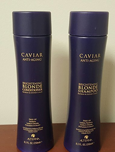 Alterna Caviar Anti-Aging Brightening Blonde Conditioner and Shapmoo Duo for Unisex, 8.5 Ounce by Alterna