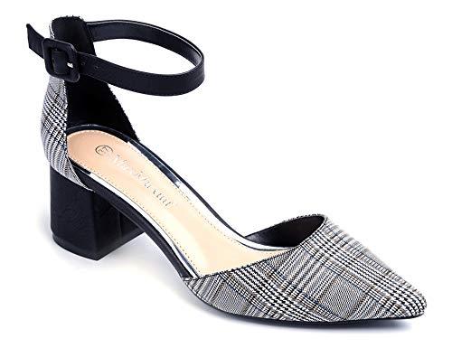 Plaid Schuhe (Greatonu Damen Schwarz Velvet Knöchel-Riemchen Blockabsatz Schwarz Plaid Sandalen 40EU)