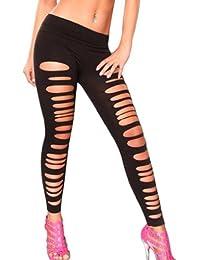 Amour-Sexy Gotik Punk schwarz Wetlook gerissen dünn Leggings elastische Hose Einheitsgröße passt für XS zu M (C913)