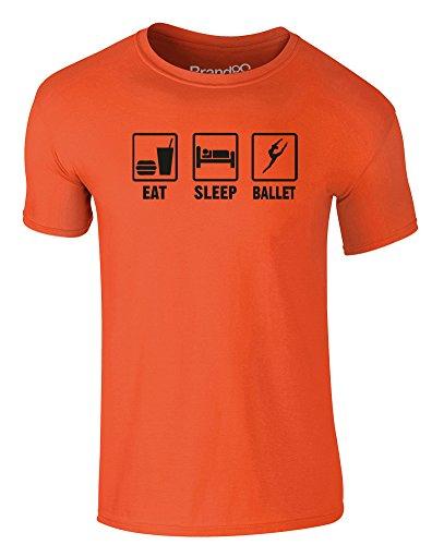 Brand88 - Eat Sleep Ballet, Erwachsene Gedrucktes T-Shirt Orange/Schwarz