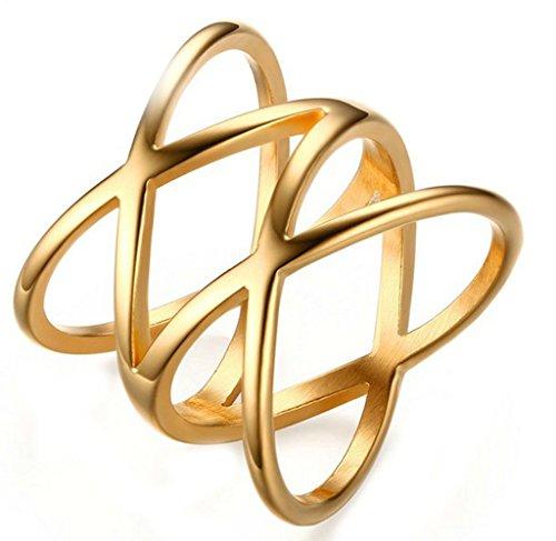 Epinki Damen Ringe, Vergoldet Kreuz Gitter Form Damenring Elegant Trauringe Verlobungsringe Heiratsantrag Ring Gold Gr.58 (18.5)
