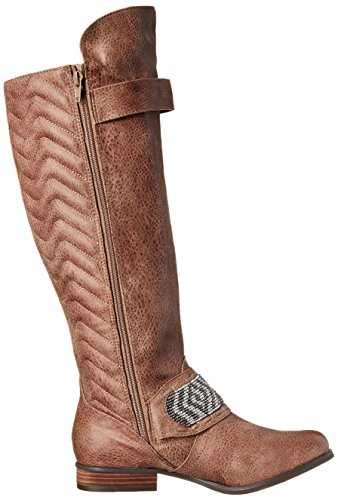 Not Rated Fashion Blvd Damen Rund Synthetik Mode-Knie hoch Stiefel Taupe