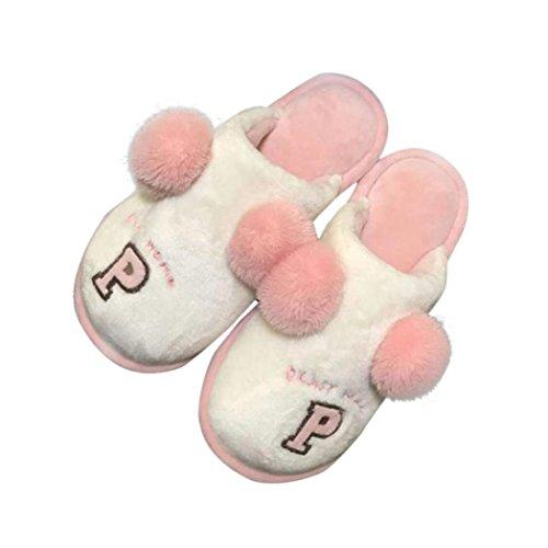 Hlhn Mode Femme Accueil Pantoufles De Plancher Mou Coton-rembourré Hiver Chaussures De Sandale Chaude Douce, Vert, 39 Rose