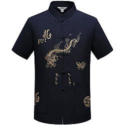 Camisa Manga Corta de Hombres Chinos Tradicionales con el diseño del dragón Traje de la Espiga Camisa de Tai Chi Uniforme de Kung Fu