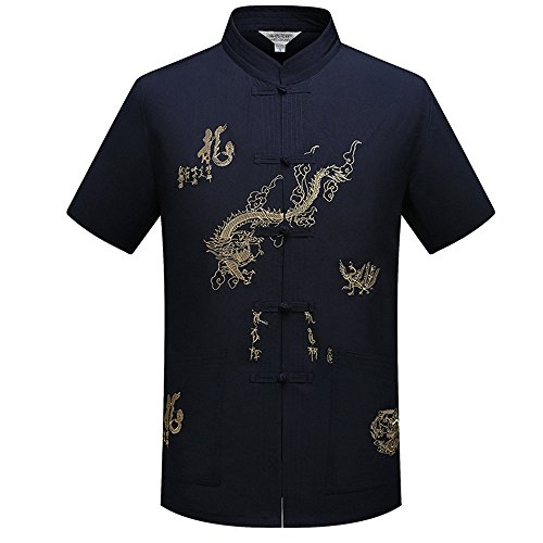 KINDOYO Manga corta de los hombres chinos tradicionales con el diseño del dragón Traje de la espiga Camisa de Tai Chi Uniforme de Kung Fu