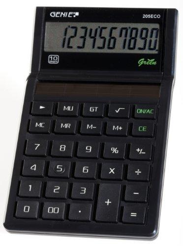 Genie 205 ECO 10-stelliger Tischrechner (Solar-Power, klassisches Design, schwarz (ausgezeichnet mit Blauer Engel)
