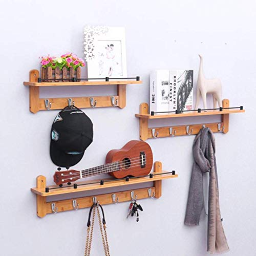 Garderobenständer Regal 3er-Set Rustikales Wandregal Eingangsregal mit 4/5/6 Haken Badschrank Küchenschrank Organizer (Farbe: Weißer Haken)