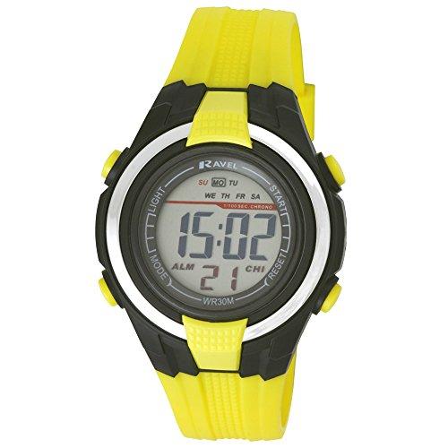 Ravel LCD Digital-Armbanduhr/Sportuhr, für Jungen, wasserdicht, mit schwarzem Zifferblatt und digitaler Anzeige sowie gelbem Kunststoff-Armband RDB-15