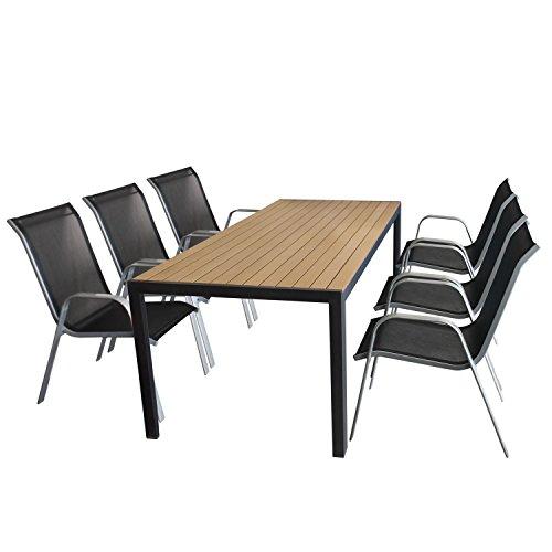 Multistore 2002 7tlg. Sitzgarnitur Gartentisch, Aluminiumrahmen, Polywood Tischplatte Braun, 205x90cm +6X Stapelstuhl Silber, Textilenbespannung Schwarz/Gartengarnitur Sitzgruppe