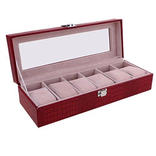 MagiDeal Stilvoll Uhren Box für 6 Uhren Uhrenkasten mit Glas Deckel Geschenk für Frauen Männer - Rot