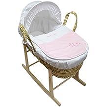 Hermoso bebé Moses cesta con balancín Natural soporte rosa My Little ...