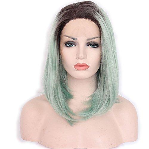 priomix Fashion Kurze Bob Style Lace Front Perücke braun Root grün Cosplay Damen-Perücke Haar