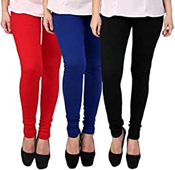 Swastik Stuffs Women's Cotton Lycra Leggings Combo Offer for Women (SSLBRBlu3_Black,Red,Blue_Free Size)(Pack of 3)
