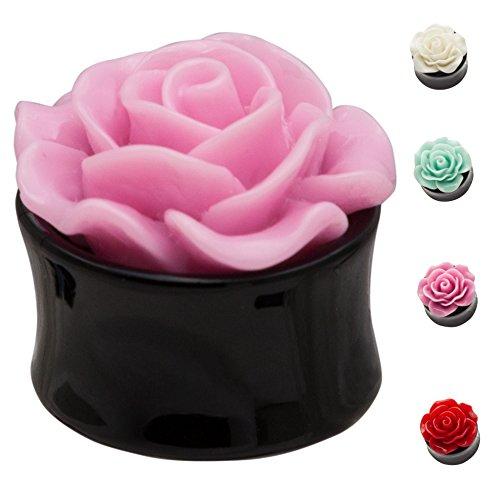 3d Plug Flesh Tunnel Plugs Piercing per orecchio Ear Plugs Rose Colors Rosso Red PL8, Acrilico, cod. PL8ROT