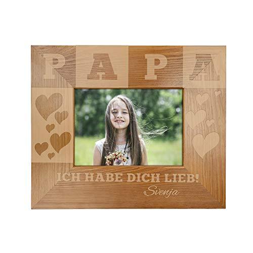 Casa Vivente - Bilderrahmen mit Gravur für Papa - Personalisiert mit Namen - Rahmen aus Holz - Vatertagsgeschenk - Geburtstag - Geschenk für Männer