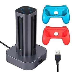 Neoteck Switch Games Charger für Nintendo Switch Games Games Grip Caps Controller Charger Zubehör-Kit für Nintendo…