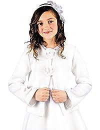 MGT-Shop Mädchen Kommunionbolero Kommunionsbolero Kommunionsjacke Kommunionjacke Cape Bolero Jacke MK-39 weiß